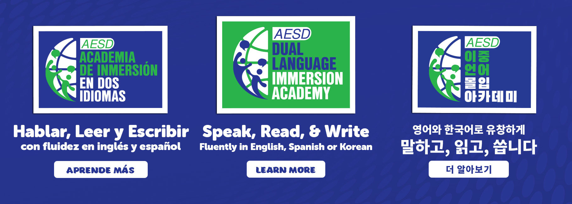 Click to learn more about Dual Language Immersion in English, Spanish and Korean.