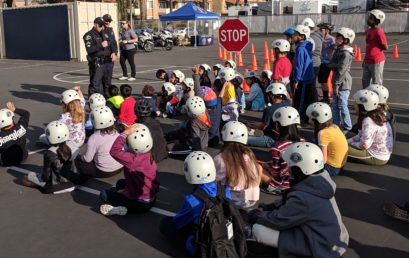 Bike Rodeo Assembly At Loara- Students learn about bicycle safety with the Anaheim Police Department