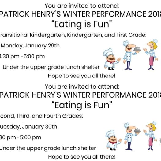 Winter Performances Jan. 29th and 30th
